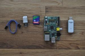 Raspberry Pi DHT22 AM2302 data logger parts